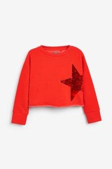Kurzes Sweatshirt mitPailletten-Stern (3-16yrs)