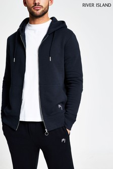 River Island Navy Slim Zip Thru Hoody
