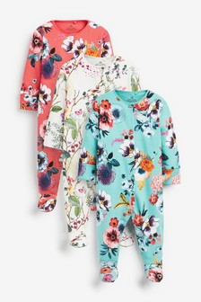 3 Pack Large Floral Sleepsuits (0-2yrs)