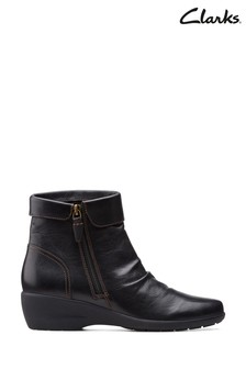 Clarks Black Leather Rosely Zip Boots