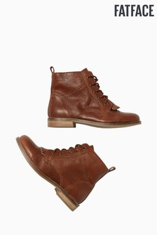 FatFace Brown Falmer Fringe Lace-Up Boots