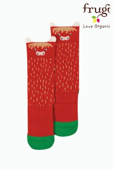 Frugi Green Organic Highland Cow Pull Up Socks