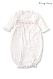 Kissy Kissy White Hand Embroidered Smocked Pull-Up Gown