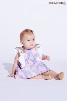 Hucklebones Purple Floral Ruffle Dress And Bloomers