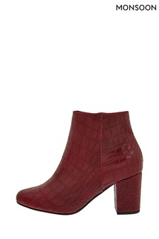 Monsoon Red Cindy Croc Ankle Boots
