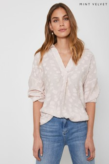 Mint Velvet Pink Clipped Throw On Shirt