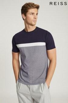Reiss Blue Duncan Colour Block T-Shirt