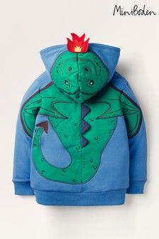 Mini Boden Blue Shaggy-Lined Appliqué Hoody