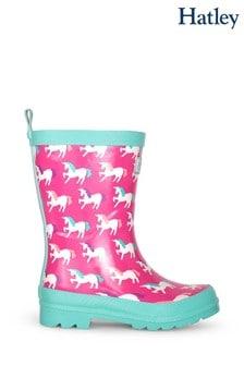 Cizme de ploaie Hatley roz cu model unicorni