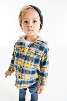 Long Sleeve Hooded Jersey Lined Check Shirt (3mths-7yrs)