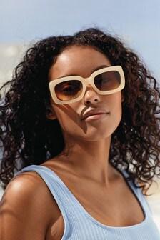 نظارة شمسية مستطيلة سميكة بذراع متباين شكل صدفة السلحفاة