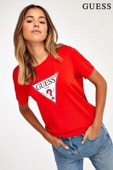 Guess T-Shirt mit Dreieck, Rot