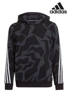 adidas Bedrucktes Kapuzensweatshirt, Schwarz