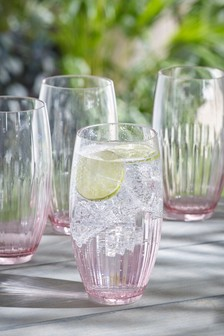 Set of 4 Pink Ombre Plastic Tumbler Glasses