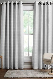 Grey Windowpane Check Eyelet Lined Curtains