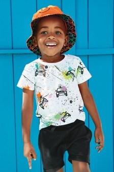 Tricou cu imprimeu neregulat și mașini cu mânecă scurtă (3 luni - 7 ani)