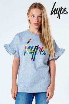 Hype. Frill Sleeve Multicolour Logo T-Shirt