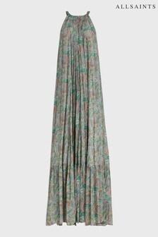 AllSaints Green Paisley Print Roma Maxi Dress