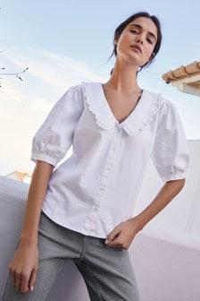Блузка с пышными рукавами и оборками на воротнике