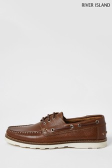 River Island Brown Leather Wedge Boat Shoes