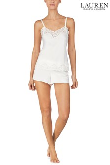 Lauren Ralph Lauren Signature Satin Double Strap Lace Camisole And Short Set