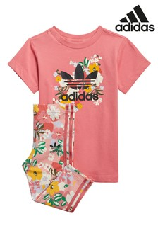 adidas Originals Infant Floral Dress And Leggings Set