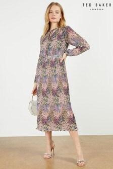 שמלת מידי שלTed Baker דגם Flosii בהדפס פרחוני צפוף עם קפלים