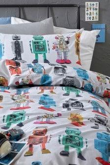 طقم غطاء لحاف وكيس وسادة Robots ملونة