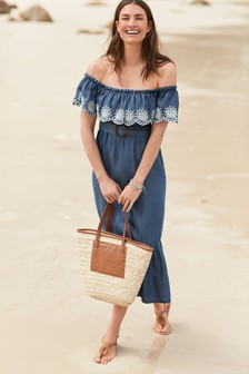 TENCEL™ Off Shoulder Midi Dress