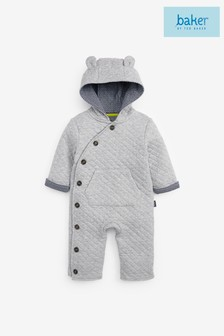 Baker by Ted Baker Baby Boys Grey Marl Button Sleepsuit