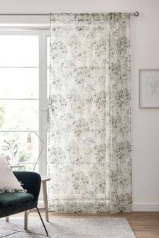 Одинарная штора из вуали с карманом для карниза и акварельным принтом деревьев