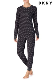 DKNY Black Stars Cosy Top And Joggers Pyjama Set