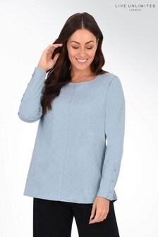 חולצת טי כחולה שלLive Unlimited מכותנה עם צווארון עגול