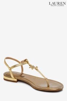 Lauren Ralph Lauren® Metallic Diamanté Logo Elmstead Flat Sandals