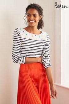 חולצת טי בדוגמת פסי מלחים עם שרוולארוךבצבעשמנתשל Boden