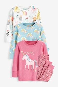 3 Pack Cotton Snuggle Pyjamas With Appliqué Unicorn (9mths-8yrs)