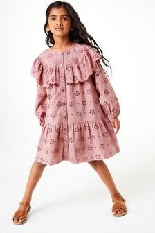 فستان تطريز مفتوح بتفصيل كشكشة (3-16 سنة)