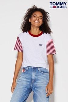 Tommy Jeans T-Shirt mit gestreiften Raglanärmeln