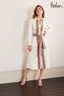 Boden Cream Isodora Midi Shirt Dress