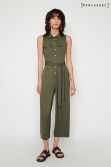 Warehouse Green Textured Utility Jumpsuit