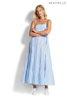 Seafolly Blue/White Stripe Tiered Dress