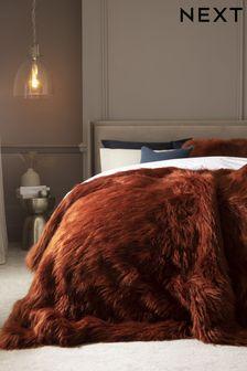 Rust Orange Long Faux Fur Throw