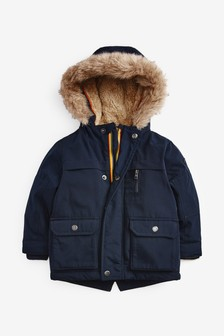 معطف قطبي بغطاء رأس فرو (3 شهور -7 سنوات)