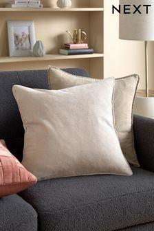 Stone Soft Velour Small Square Cushion