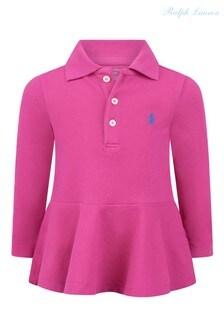Розовое поло с оборкой и логотипом Ralph Lauren