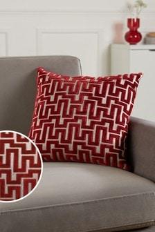 Red Fretwork Velvet Small Square Cushion