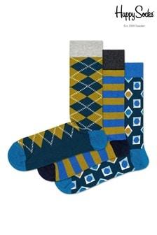 Trzy pary niebieskich skarpet w romby Happy Socks