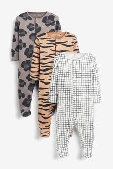 מארז 3 חליפות שינה מכותנה אורגנית מאושרת על ידי GOTS בהדפס חייתי (0 חודשים עד גיל 2)