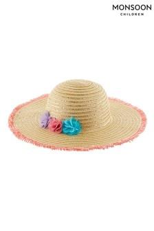 Monsoon大地色Blaire亮色絲球寬邊帽