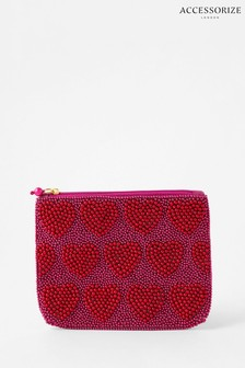 Accessorize Red Harrie Valentine's Beaded Pouch